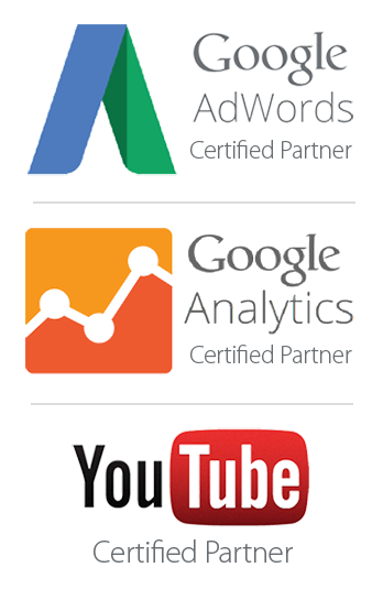 Logo for Google Adwords, Google Analytics, and Youtube